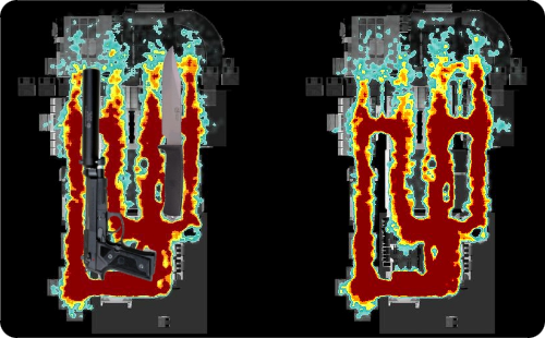 Handgun Knife Combo Halo Heatmap