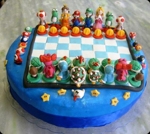 Super Mario Chess Cake