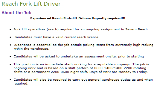 Reach Fork Lift Driver
